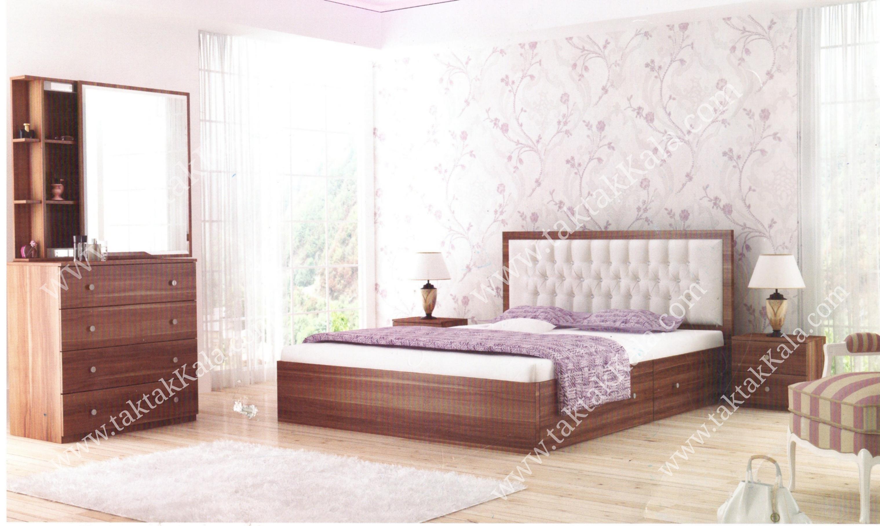 تخت خواب مدل تمام چوب لمسه