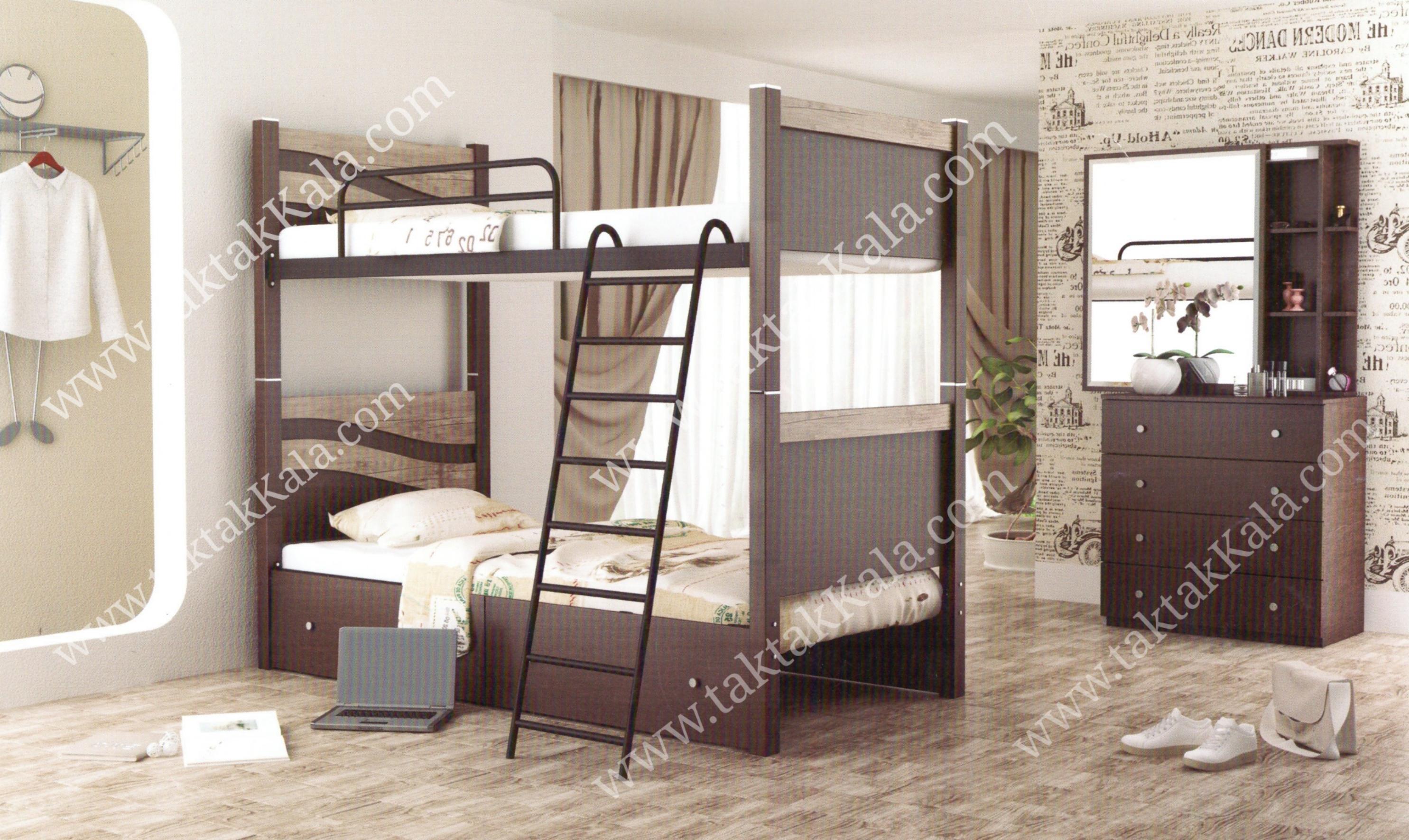 تخت خواب دو طبقه مدل موج